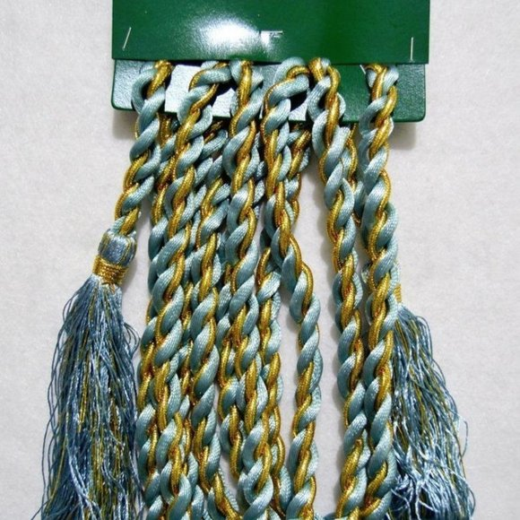12 Light blue and gold satin Christmas tree rope garland w/tassels 8 feet each